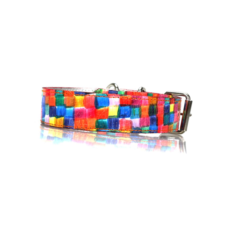 Lederhalsband Mosaik