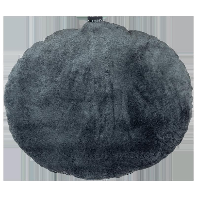 Kissen oval grau Plüsch
