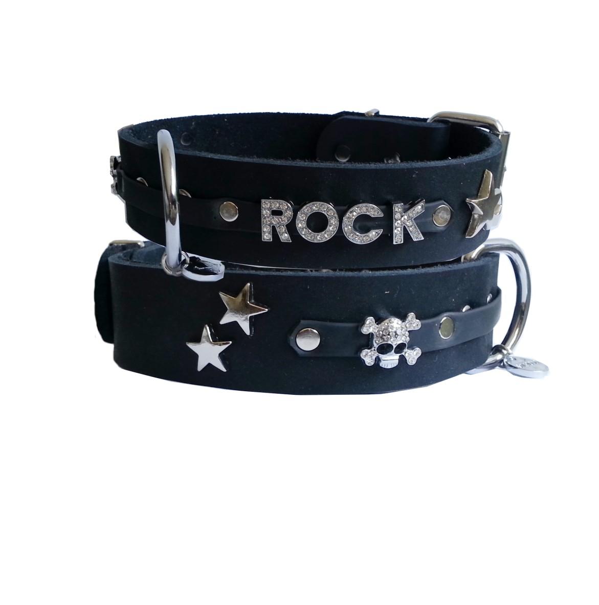 Lederhalsband ROCK Strass